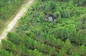 Foto aérea do local do acidente
