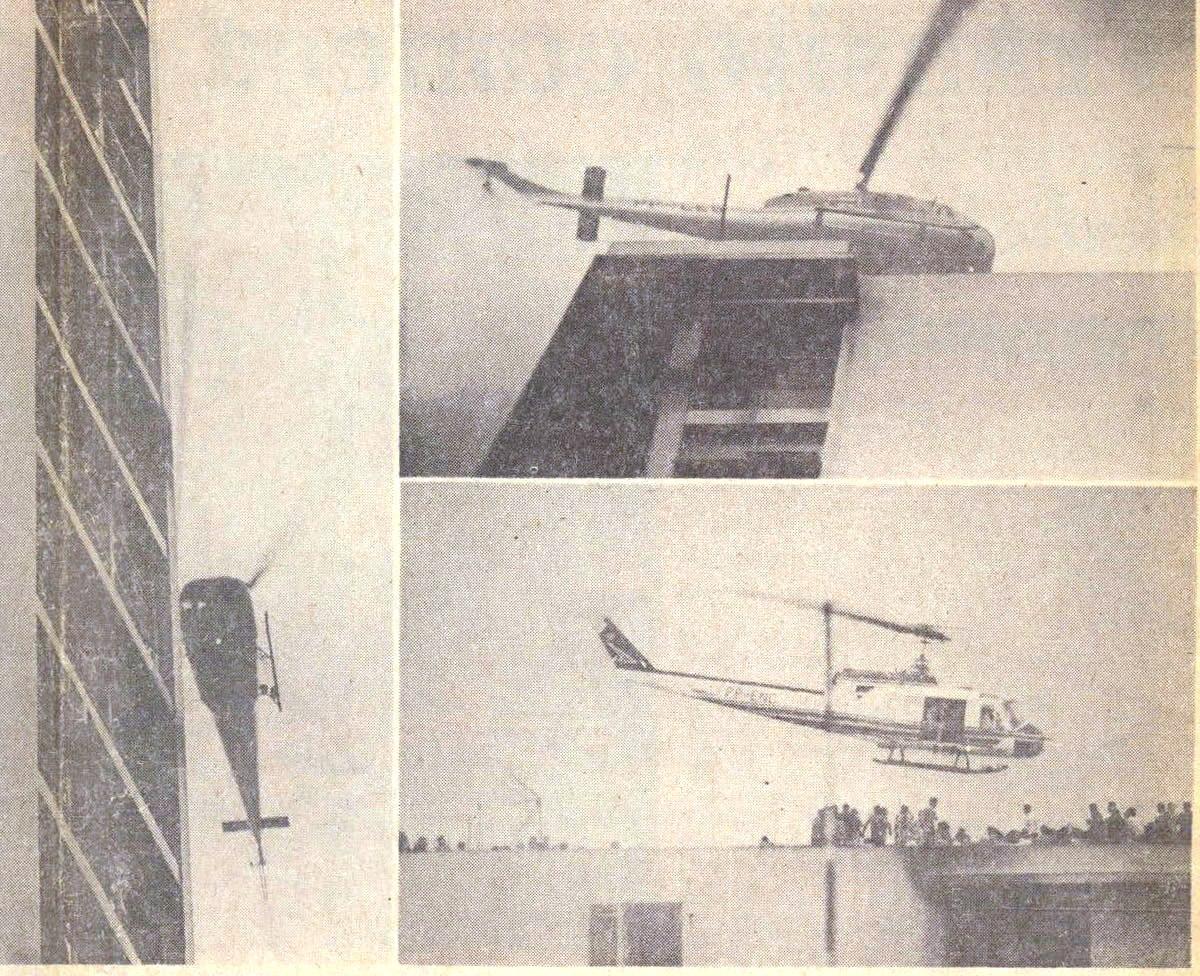 Olendino Francisco de Souza, piloto do Governo do Estado de São Paulo, soube do incêndio por uma estação de rádio. Pilotou o helicóptero PP-ENC, um Bel 204B. Foto: Agência Estado.