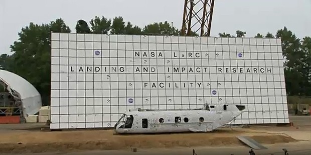 Helicóptero colide contra o chão para avaliar segurança Foto: Nasa Langley Research Center/Reprodução.