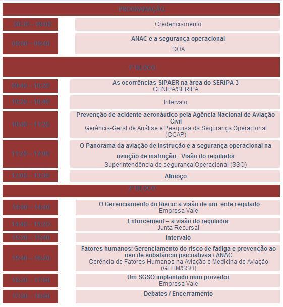 Programação completa do evento.
