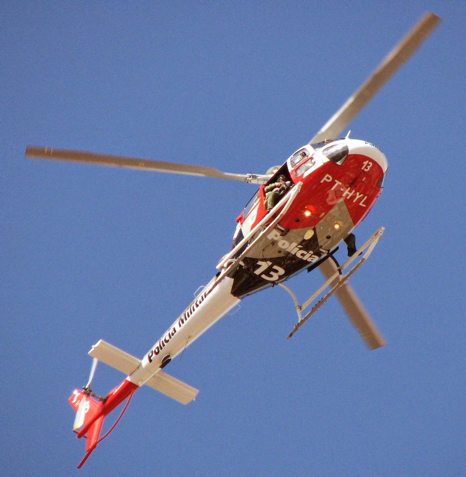 Helicóptero Águia realiza operação em Dracena/SP