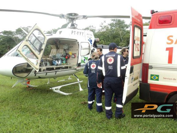 Helicóptero do Consamu transporta garoto com trauma de tórax no Paraná 1