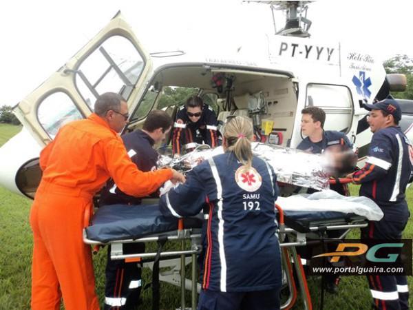 Helicóptero do Consamu transporta garoto com trauma de tórax no Paraná