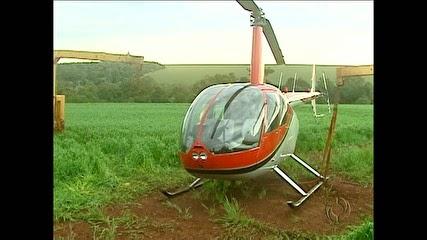 PM apreende helicóptero e 80 kg de cocaína em Campo Mourão-PR