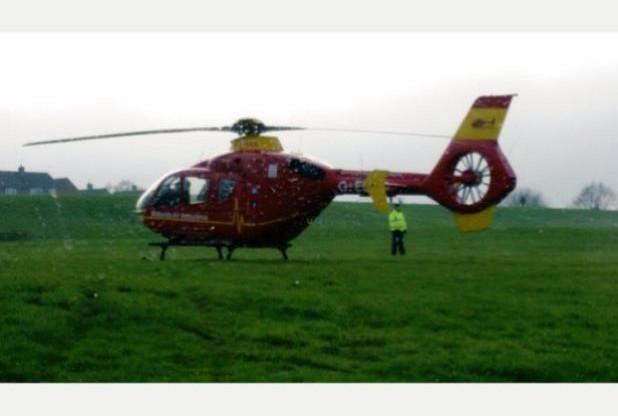 Um helicóptero da Midlands Air Ambulance retornou para a sua base um dia após uma forte neblina ter forçado o piloto a fazer uma aterragem de emergência em Biddulph